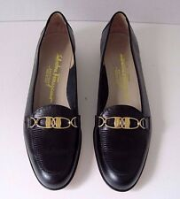 Salvatore Ferragamo Black Leather Flats Shoes Stunning Gold Tone Buckle Sz. 8 4A
