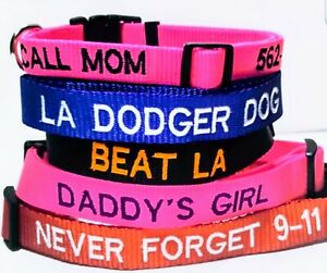 PERSONALIZED EMBROIDERED GLOW IN DARK DOG COLLARS REFLECTIVE BY AUTISTIC ARTIST