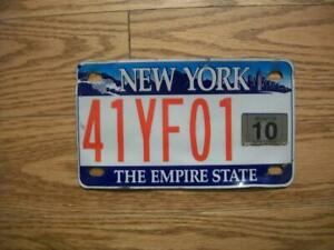 SINGLE NEW YORK LICENSE PLATE - 2010 - 41YF01 - MOTORCYCLE - THE EMPIRE STATE