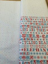 Benartex - Under The Big Top - Words + Dots Fabric - 100% Cotton - White