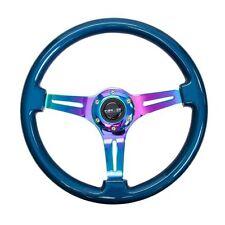 NRG ST-015MC-BL Steering Wheel Smooth Classic Blue Wood Grain Neo Chrome 350mm