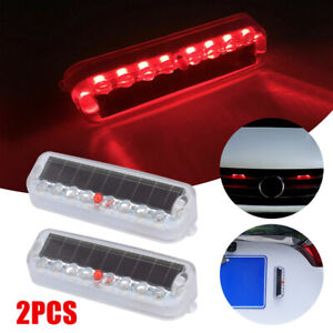 2x Red 10 LED Car Solar Warning Security Anti-Theft Flashing Light For Truck SUV