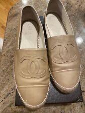 Authentic Chanel Espadrilles Beige Patent Leather Shoes Size 39 (8)