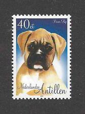 Dog Art Head Portrait Postage Stamp BOXER PUPPY Netherlands Antilles 2004 MNH