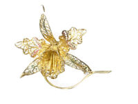 Beautiful Vintage Silver Gilded Gold ENAMEL Filigree Orchid Brooch Gift Boxed