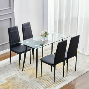 120cm Clear Tempered Glass Dining Table Metal Chrome Legs Dining Room Kitchen