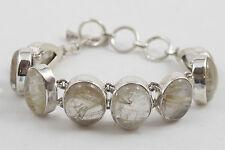 New Sterling Silver and Oval Golden Rutilated Quartz Bracelet
