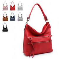 Ladies Faux Leather Front Zip Slouch Shoulder Bag Work Travel Handbag MF-2009