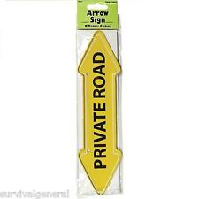 Private Road Arrow Sign Metal Magnet Backing Yellow Fence Ready to Hang Post