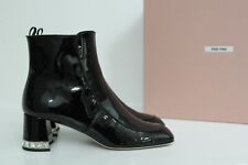 New sz 8 / 38.5 Miu Miu Black Patent Leather Crystal Heel Ankle Boot Shoes