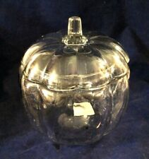 """Pumpkin Shape Clear Glass Candy Cookie Jar with Lid, Thanksgiving 8"""""""