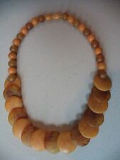 Vintage Art Deco French Bakelite Swirled Butterscotch Geometric Disc Necklace!