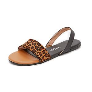 TKEES The Charlie Leopard Print Calf Hair Flat Slingback Sandals US 9 EU 40 TTCB