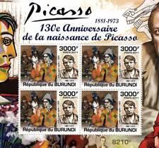 PABLO PICASSO Artist & Painter / Abstract Art Stamp Sheet #5 of 5 (2011 Burundi)