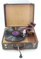 Antique Portable Hand Crank Record Player Phonograph Windup Gramaphone