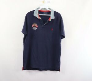 Polo Ralph Lauren Mens Large Custom Slim Fit USA Flag Spell Out Polo Shirt Blue
