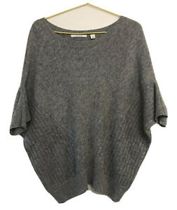 Country Road Grey Wool Cashmere Angora Blend Knit Slouch Pullover Batwing Size M