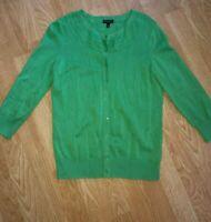 Talbots PS Petite Small Career Green Cardigan Sweater