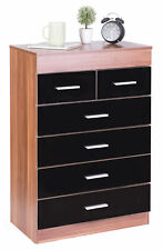 New Basicwise Modern Wooden Chest with 4+2 Drawers, Natural and Black, QI003650