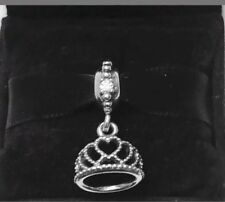 Authentic PANDORA HEARTS TIARA Dangle Charm #791738CZ Silver .925