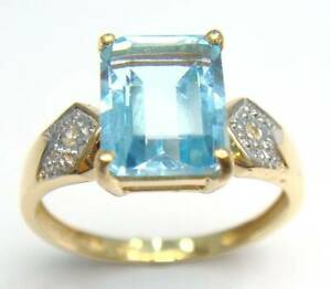 SYJEWELLERY FINE 9CT YELLOW GOLD NATURAL BLUE TOPAZ & DIAMOND RING SIZE N R965