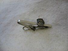 Vintage Silver Tone Smokey Glass Jewel Tie Clip Tie Clasp ~ Obvious Wear ~