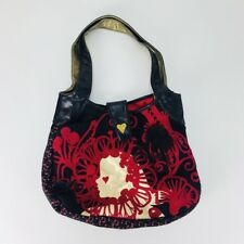 Loop Womens Black Shoulder Handbag Red / Gold Graphic Magnetic Snap