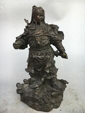 10'' Fine Copper Bronze carved Nine dragon Guan Gong statue