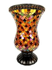 Partylite Global Fusion Hurricane Stained Glass Mosaic Candle Holder Vase 12�