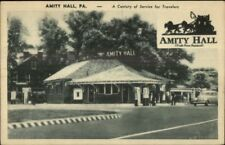 Amity Hall PA Service Gas Station 1940s Postcard