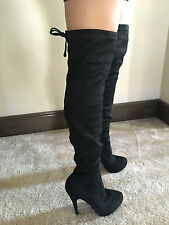 35b79b7fb3 New Forever Link Compose 23 Over the Knee Thigh High Black Stiletto Boots 5  - 10
