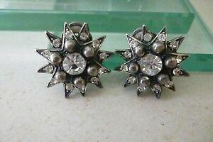 Vintage Askew of London Star Design Clip On Earrings - Signed - VGC 2.5 cm diam