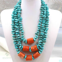 Blue Turquoise Artificial Coral Tibetan Silver Necklace Clasp Hang Real Gift