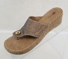 c290d0de0d8 White Mountain Sandals Thong Wedge Beachball Espadrille Womens Gold Shoes  Sz 7M