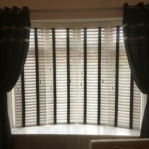 White Venetian Fauxwood blinds 35mm & 50mm slats up to 2metres with black tapes