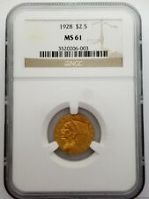 1928 $2.50 MS61 NGC Indian Head Quarter Eagle Gold Coin