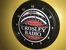 Crosley Radio Store Repair Advertising Man Cave Black Wall Clock Sign
