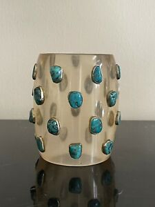 Chunky and Funky Lucite & Turquoise Stones with Sterling Silver Bangle Bracelet