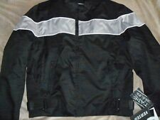 MENS TEXTILE BLACK MOTORCYCLE JACKET REFLECTIVE SIDE STRETCH PANEL NEW MED