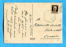 "c.30 IMPERIALE soprastampa ""GNR"" ISOLATO su cartolina partita da MILANO (261659)"