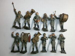 Konvolut 12 alte Lineol Massesoldaten Musikkapelle Musiker zu 7.5cm