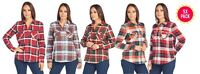 Women Soft Cotton Plaid Shirt with 2 Front Pockets - (5 PACK)
