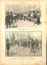 Paris Société d'escrime épée et tir au pistolet silhouettes carton GRAVURE 1894