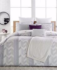 Lacoste Miami FULL/QUEEN Duvet Cover & 2 Shams Set Purple White Bedding B2197