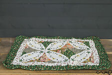 Floral Geometric Patchwork Quilted Green Cotton Bedroom Bath Door Mat Shabby D0
