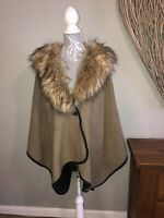 Oasis Ladies Cape Style Jacket Faux Fur Collar One Size 10 12 14 16 18