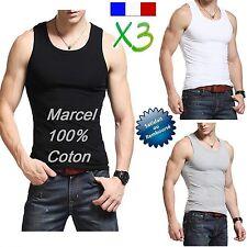 * LOT 3 DEBARDEURS MARCEL 100% COTON HOMME POLO T SHIRT MAILLOTS DE CORPS *