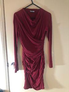 Kookai Burgundy Red Long Sleeve Cotton Cross Over Dress Size 1