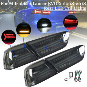 Smoked LED Tail Lights Rear Lamps For Mitsubishi Lancer EVO 2008-2017 LH+RH Side