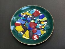"Vintage 50s 60s Multi-color Enamel Copper Dish Plate 6 3/8"" Signed Win Ng SF"